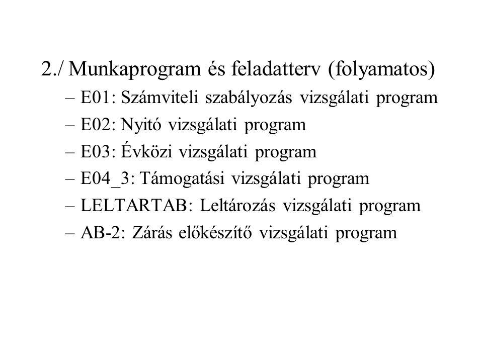 2./ Munkaprogram és feladatterv (folyamatos) –E01: Számviteli szabályozás vizsgálati program –E02: Nyitó vizsgálati program –E03: Évközi vizsgálati program –E04_3: Támogatási vizsgálati program –LELTARTAB: Leltározás vizsgálati program –AB-2: Zárás előkészítő vizsgálati program