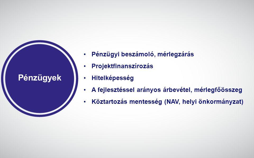 Pénzügyek Pénzügyi beszámoló, mérlegzárás Projektfinanszírozás Hitelképesség A fejlesztéssel arányos árbevétel, mérlegfőösszeg Köztartozás mentesség (NAV, helyi önkormányzat)