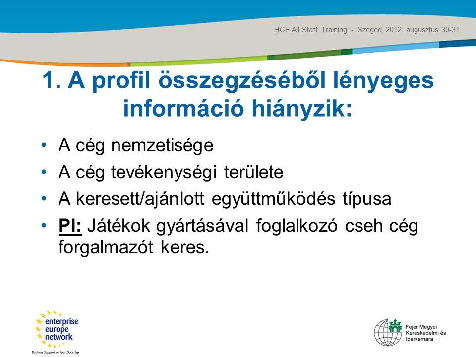 Title of the presentation   Date  ‹#› 1. A profil összegzéséből lényeges információ hiányzik: A cég nemzetisége A cég tevékenységi területe A keresett