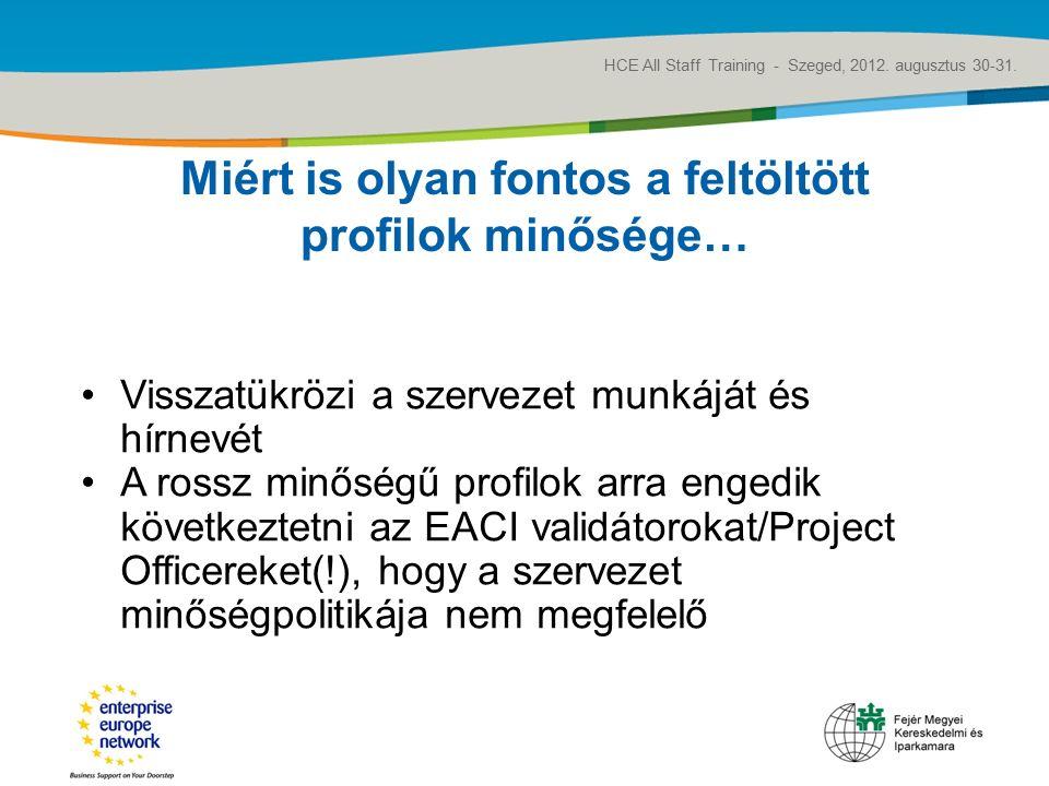 Title of the presentation | Date |‹#› Miért is olyan fontos a feltöltött profilok minősége… HCE All Staff Training - Szeged, 2012.