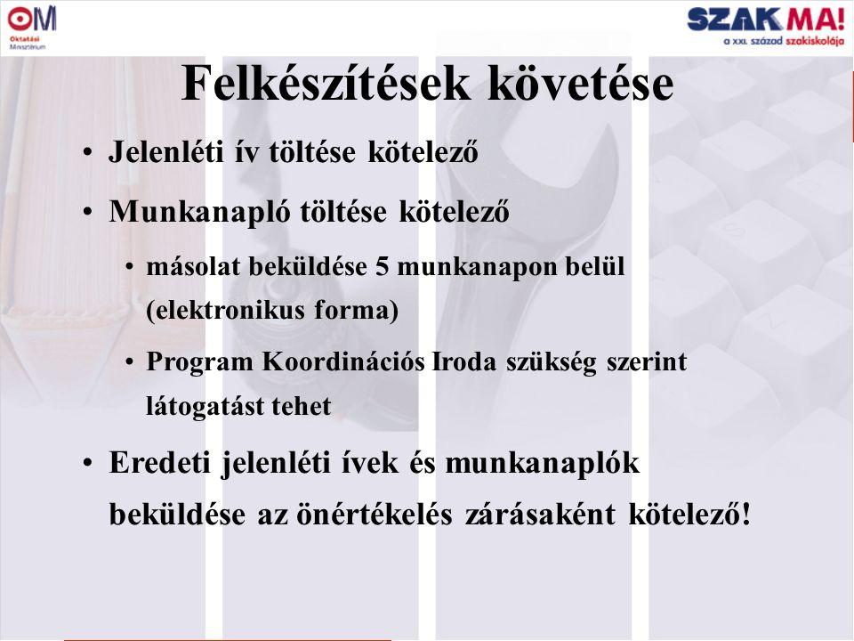 3 Felkészítések követése Jelenléti ív töltése kötelező Munkanapló töltése kötelező másolat beküldése 5 munkanapon belül (elektronikus forma) Program K