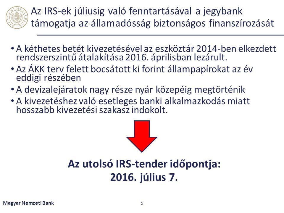 Az IRS-ek júliusig való fenntartásával a jegybank támogatja az államadósság biztonságos finanszírozását A kéthetes betét kivezetésével az eszköztár 2014-ben elkezdett rendszerszintű átalakítása 2016.