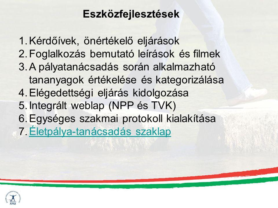 Eszközfejlesztések 1.Kérdőívek, önértékelő eljárások 2.Foglalkozás bemutató leírások és filmek 3.A pályatanácsadás során alkalmazható tananyagok értékelése és kategorizálása 4.Elégedettségi eljárás kidolgozása 5.Integrált weblap (NPP és TVK) 6.Egységes szakmai protokoll kialakítása 7.Életpálya-tanácsadás szaklapÉletpálya-tanácsadás szaklap