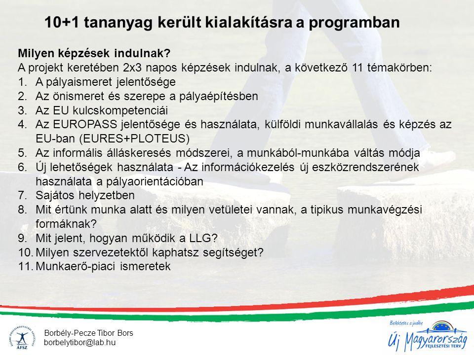 10+1 tananyag került kialakításra a programban Borbély-Pecze Tibor Bors borbelytibor@lab.hu Milyen képzések indulnak.