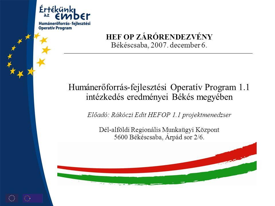 HEF OP ZÁRÓRENDEZVÉNY Békéscsaba, 2007. december 6. Humánerőforrás-fejlesztési Operatív Program 1.1 intézkedés eredményei Békés megyében Előadó: Rákóc