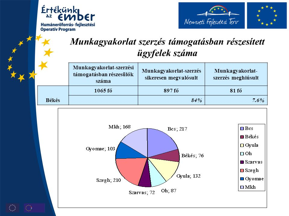 Munkagyakorlat szerzés támogatásban részesített ügyfelek száma Munkagyakorlat-szerzési támogatásban részesülők száma Munkagyakorlat-szerzés sikeresen megvalósult Munkagyakorlat- szerzés meghiúsult Békés 1065 fő897 fő81 fő 84%7.6%