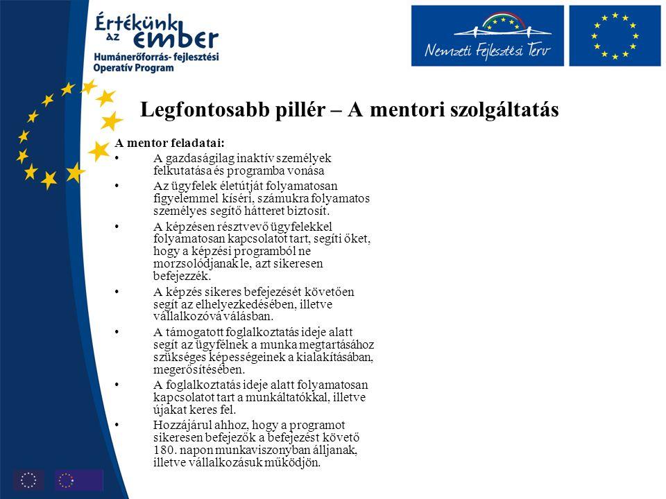 Legfontosabb pillér – A mentori szolgáltatás A mentor feladatai: A gazdaságilag inaktív személyek felkutatása és programba vonása Az ügyfelek életútjá