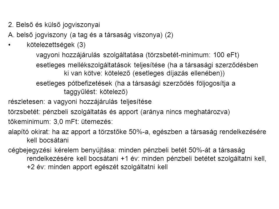 2. Belső és külső jogviszonyai A.