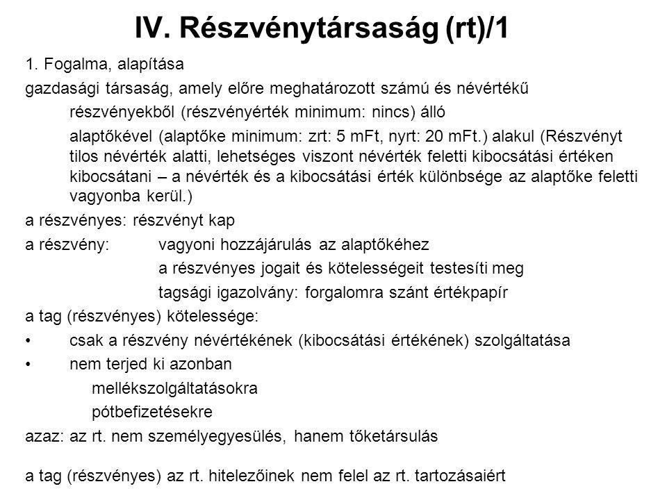 IV. Részvénytársaság (rt)/1 1.