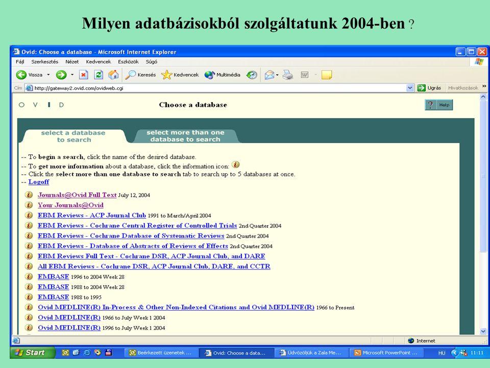 Milyen adatbázisokból szolgáltatunk 2004-ben ?