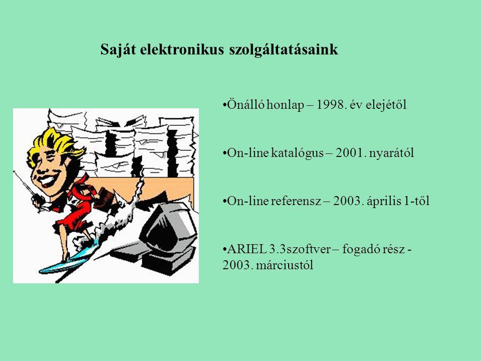 Saját elektronikus szolgáltatásaink Önálló honlap – 1998. év elejétől On-line katalógus – 2001. nyarától On-line referensz – 2003. április 1-től ARIEL