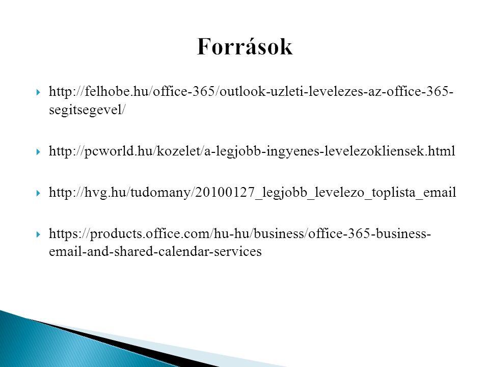  http://felhobe.hu/office-365/outlook-uzleti-levelezes-az-office-365- segitsegevel/  http://pcworld.hu/kozelet/a-legjobb-ingyenes-levelezokliensek.html  http://hvg.hu/tudomany/20100127_legjobb_levelezo_toplista_email  https://products.office.com/hu-hu/business/office-365-business- email-and-shared-calendar-services