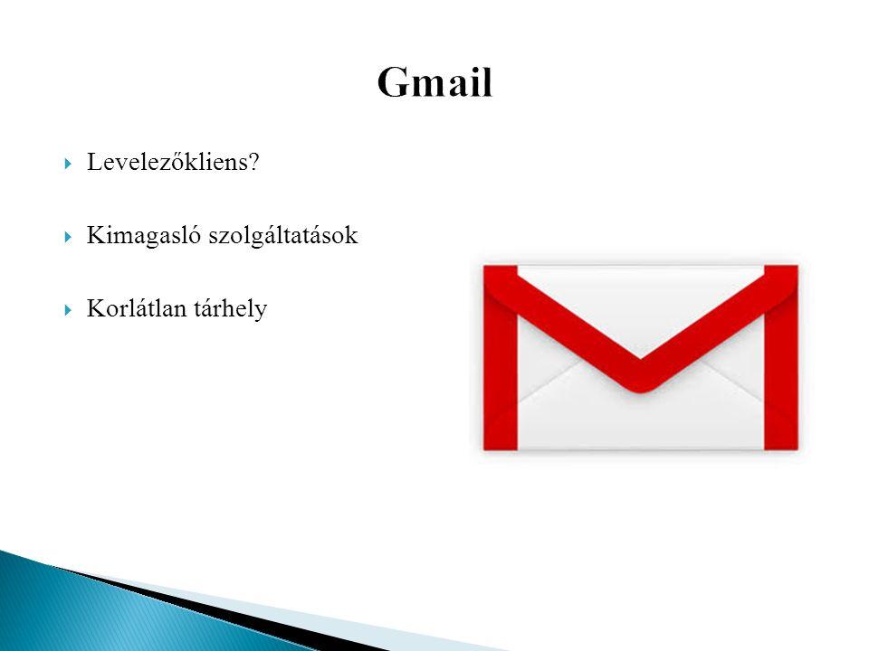  Levelezőkliens  Kimagasló szolgáltatások  Korlátlan tárhely