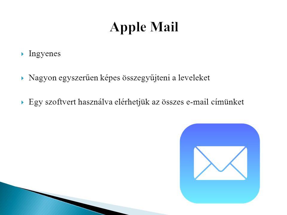  Ingyenes  Nagyon egyszerűen képes összegyűjteni a leveleket  Egy szoftvert használva elérhetjük az összes e-mail címünket