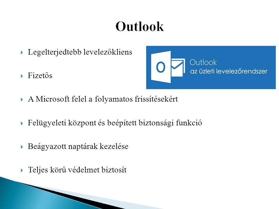  Legelterjedtebb levelezőkliens  Fizetős  A Microsoft felel a folyamatos frissítésekért  Felügyeleti központ és beépített biztonsági funkció  Beágyazott naptárak kezelése  Teljes körű védelmet biztosít