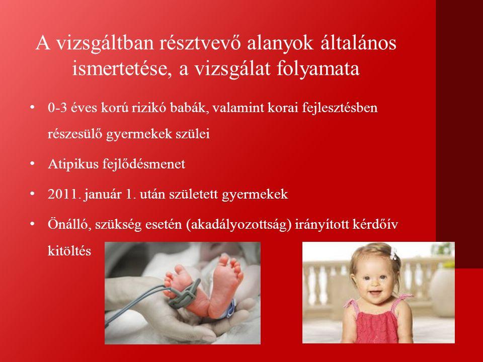 A vizsgáltban résztvevő alanyok általános ismertetése, a vizsgálat folyamata 0-3 éves korú rizikó babák, valamint korai fejlesztésben részesülő gyermekek szülei Atipikus fejlődésmenet 2011.