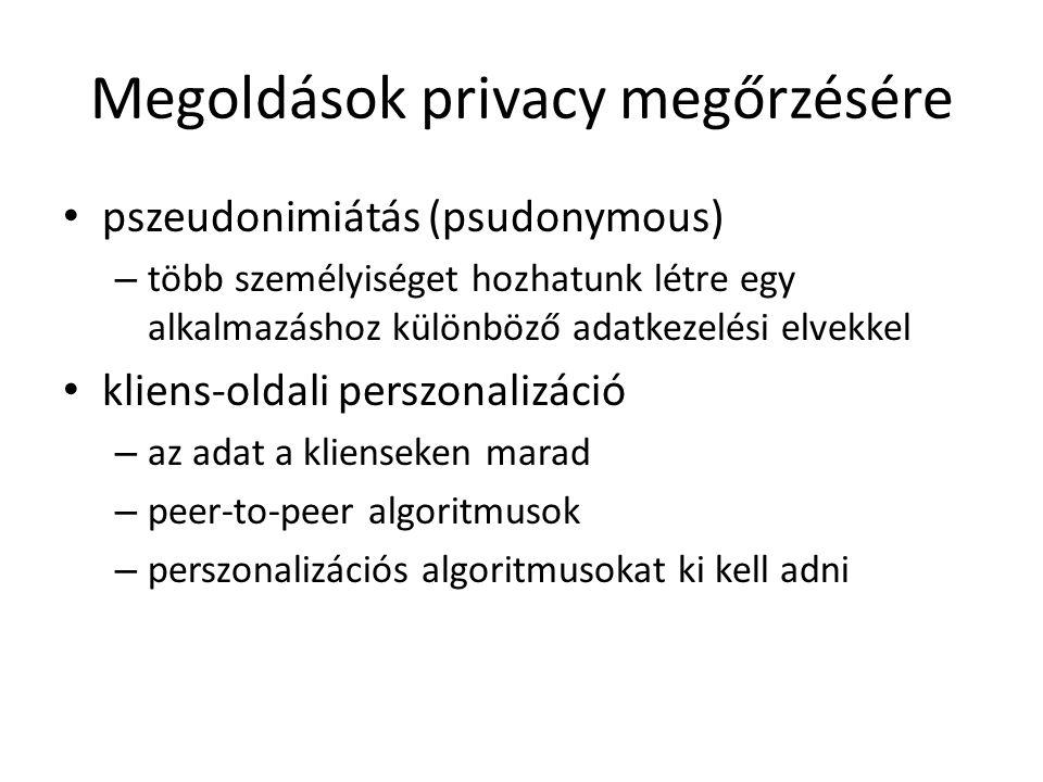 Megoldások privacy megőrzésére pszeudonimiátás (psudonymous) – több személyiséget hozhatunk létre egy alkalmazáshoz különböző adatkezelési elvekkel kl