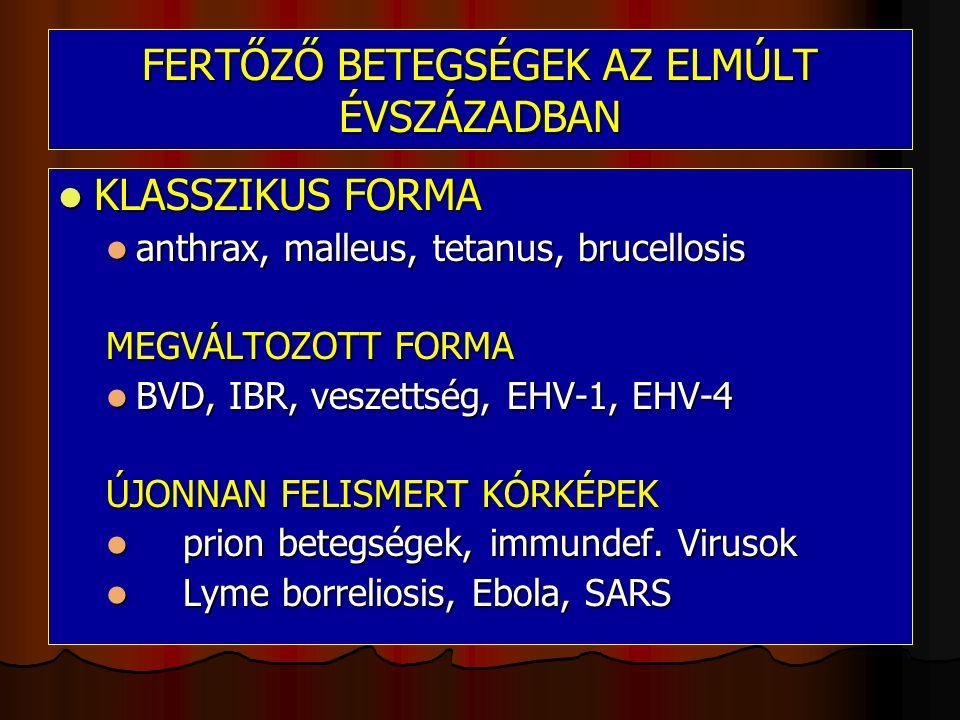 FERTŐZŐ BETEGSÉGEK AZ ELMÚLT ÉVSZÁZADBAN KLASSZIKUS FORMA KLASSZIKUS FORMA anthrax, malleus, tetanus, brucellosis anthrax, malleus, tetanus, brucellosis MEGVÁLTOZOTT FORMA BVD, IBR, veszettség, EHV-1, EHV-4 BVD, IBR, veszettség, EHV-1, EHV-4 ÚJONNAN FELISMERT KÓRKÉPEK prion betegségek, immundef.