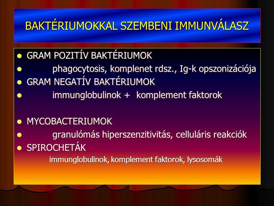 BAKTÉRIUMOKKAL SZEMBENI IMMUNVÁLASZ GRAM POZITÍV BAKTÉRIUMOK GRAM POZITÍV BAKTÉRIUMOK phagocytosis, komplenet rdsz., Ig-k opszonizációja phagocytosis, komplenet rdsz., Ig-k opszonizációja GRAM NEGATÍV BAKTÉRIUMOK GRAM NEGATÍV BAKTÉRIUMOK immunglobulinok + komplement faktorok immunglobulinok + komplement faktorok MYCOBACTERIUMOK MYCOBACTERIUMOK granulómás hiperszenzitivitás, celluláris reakciók granulómás hiperszenzitivitás, celluláris reakciók SPIROCHETÁK SPIROCHETÁK immunglobulinok, komplement faktorok, lysosomák immunglobulinok, komplement faktorok, lysosomák