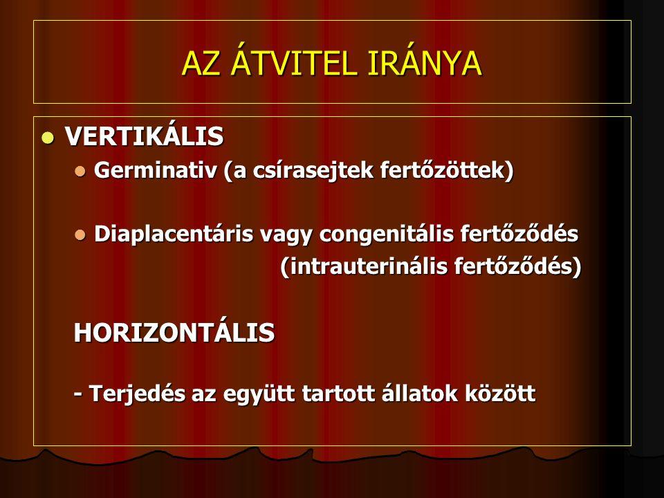 AZ ÁTVITEL IRÁNYA VERTIKÁLIS VERTIKÁLIS Germinativ (a csírasejtek fertőzöttek) Germinativ (a csírasejtek fertőzöttek) Diaplacentáris vagy congenitális fertőződés Diaplacentáris vagy congenitális fertőződés (intrauterinális fertőződés) (intrauterinális fertőződés)HORIZONTÁLIS - Terjedés az együtt tartott állatok között
