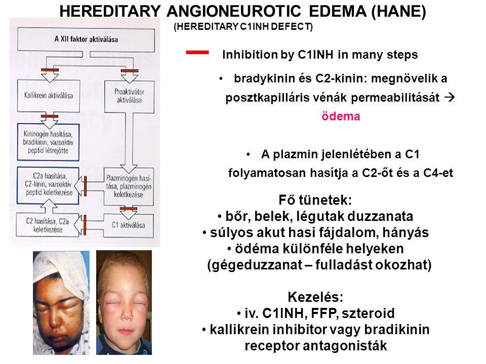 HEREDITARY ANGIONEUROTIC EDEMA (HANE) (HEREDITARY C1INH DEFECT) Fő tünetek: bőr, belek, légutak duzzanata súlyos akut hasi fájdalom, hányás ödéma különféle helyeken (gégeduzzanat – fulladást okozhat) Kezelés: iv.