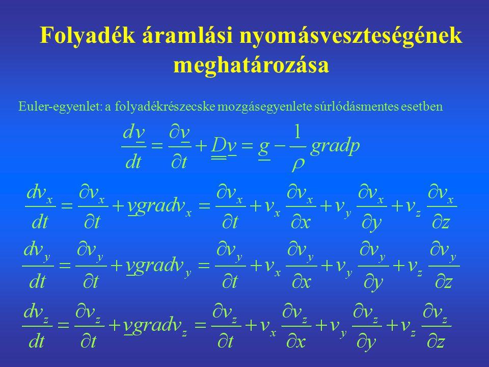 Folyadék áramlási nyomásveszteségének meghatározása Euler-egyenlet: a folyadékrészecske mozgásegyenlete súrlódásmentes esetben