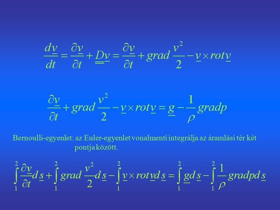 Bernoulli-egyenlet: az Euler-egyenlet vonalmenti integrálja az áramlási tér két pontja között.