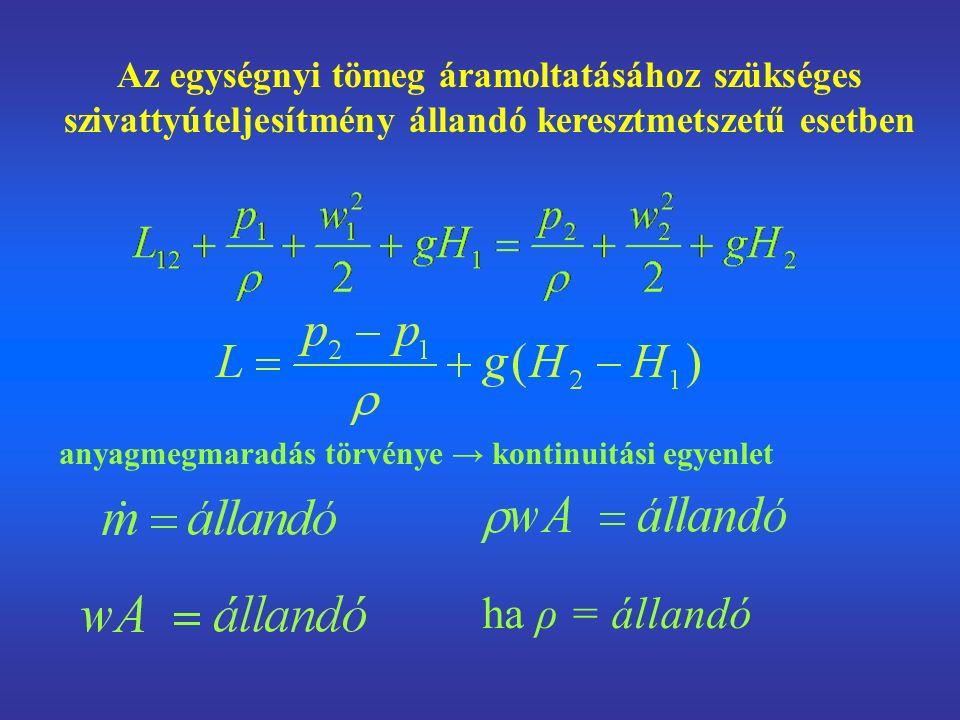 Az egységnyi tömeg áramoltatásához szükséges szivattyúteljesítmény állandó keresztmetszetű esetben anyagmegmaradás törvénye → kontinuitási egyenlet ha