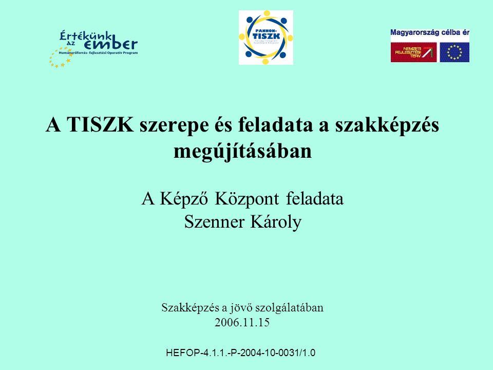 A TISZK szerepe és feladata a szakképzés megújításában A Képző Központ feladata Szenner Károly Szakképzés a jövő szolgálatában 2006.11.15 HEFOP-4.1.1.-P-2004-10-0031/1.0