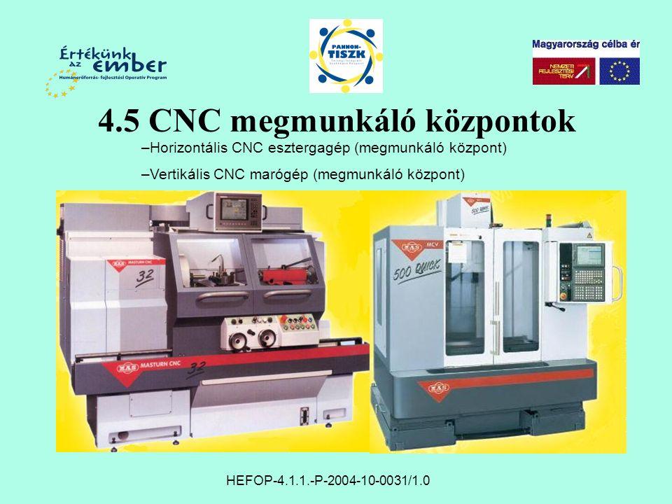 HEFOP-4.1.1.-P-2004-10-0031/1.0 4.5 CNC megmunkáló központok –Horizontális CNC esztergagép (megmunkáló központ) –Vertikális CNC marógép (megmunkáló központ)