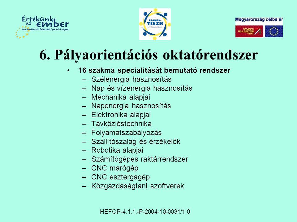 6. Pályaorientációs oktatórendszer 16 szakma specialitását bemutató rendszer –Szélenergia hasznosítás –Nap és vízenergia hasznosítás –Mechanika alapja