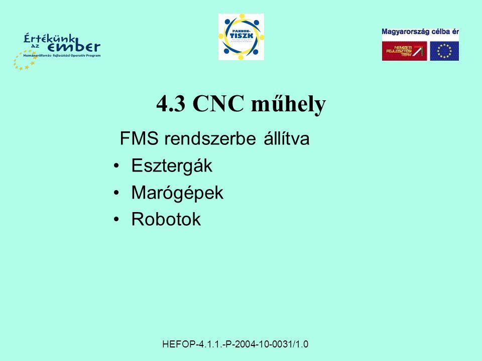 4.3 CNC műhely FMS rendszerbe állítva Esztergák Marógépek Robotok HEFOP-4.1.1.-P-2004-10-0031/1.0