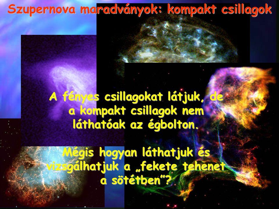 Szupernova maradványok: kompakt csillagok A fényes csillagokat látjuk, de a kompakt csillagok nem láthatóak az égbolton. Mégis hogyan láthatjuk és viz