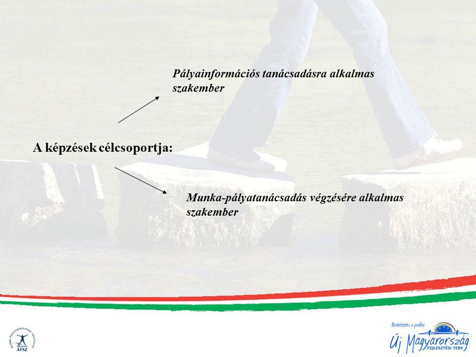 A képzések célcsoportja: Munka-pályatanácsadás végzésére alkalmas szakember Pályainformációs tanácsadásra alkalmas szakember