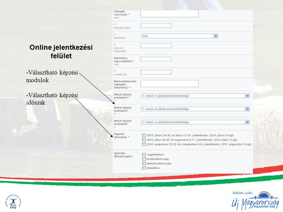 Online jelentkezési felület -Választható képzési modulok -Választható képzési időszak
