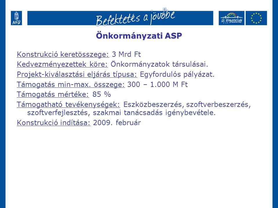 Önkormányzati ASP Konstrukció keretösszege: 3 Mrd Ft Kedvezményezettek köre: Önkormányzatok társulásai. Projekt-kiválasztási eljárás típusa: Egyfordul