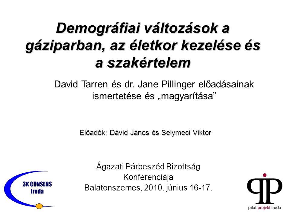 Demográfiai változások a gáziparban, az életkor kezelése és a szakértelem Ágazati Párbeszéd Bizottság Konferenciája Balatonszemes, 2010. június 16-17.