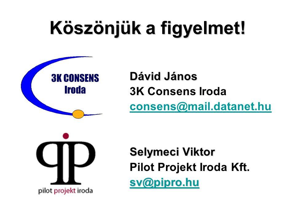 Köszönjük a figyelmet! Dávid János 3K Consens Iroda consens@mail.datanet.hu Selymeci Viktor Pilot Projekt Iroda Kft. sv@pipro.hu