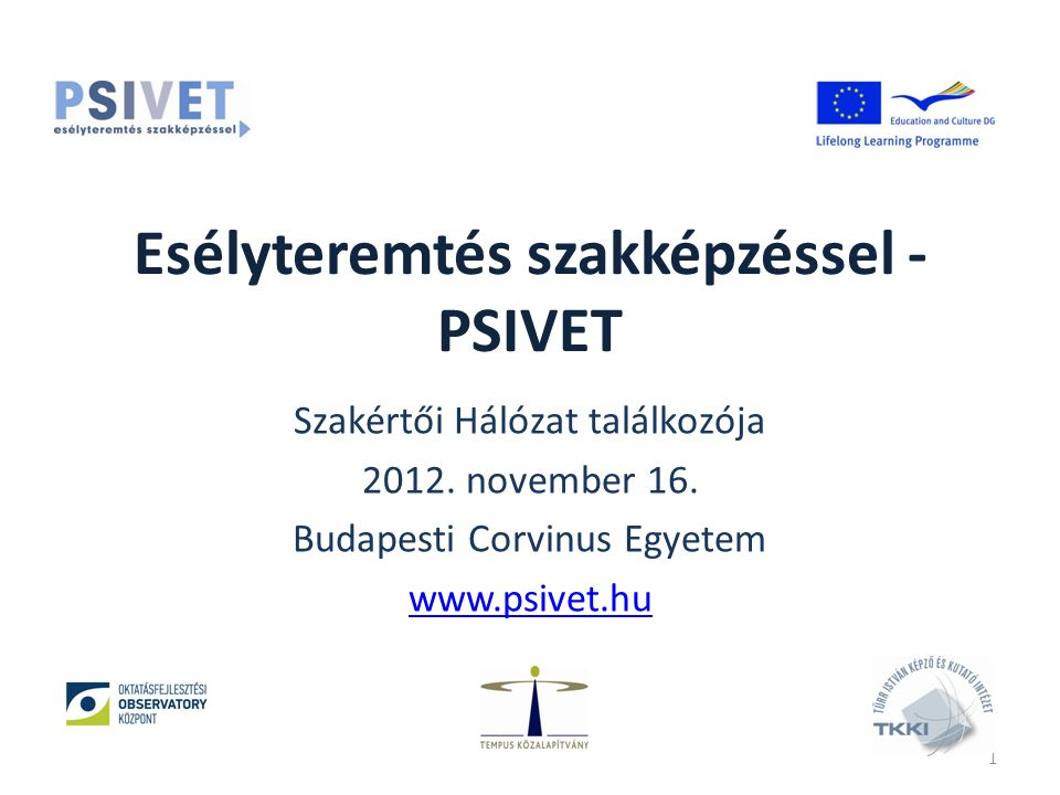 Esélyteremtés szakképzéssel - PSIVET Szakértői Hálózat találkozója 2012.