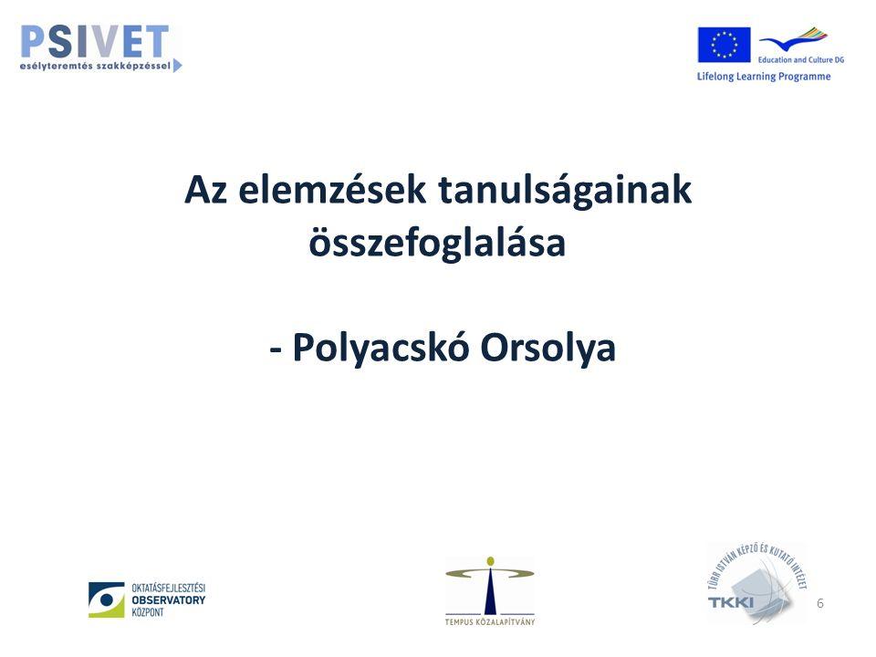 Az elemzések tanulságainak összefoglalása - Polyacskó Orsolya 6