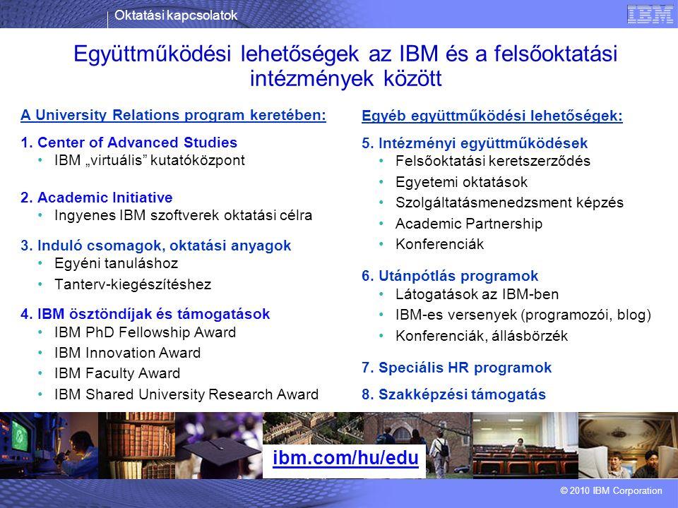 Oktatási kapcsolatok © 2010 IBM Corporation Együttműködési lehetőségek az IBM és a felsőoktatási intézmények között ibm.com/hu/edu A University Relations program keretében: 1.