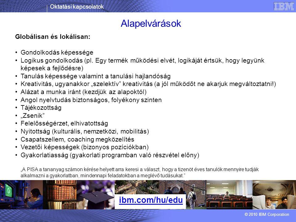 Oktatási kapcsolatok © 2010 IBM Corporation Alapelvárások ibm.com/hu/edu Globálisan és lokálisan: Gondolkodás képessége Logikus gondolkodás (pl.