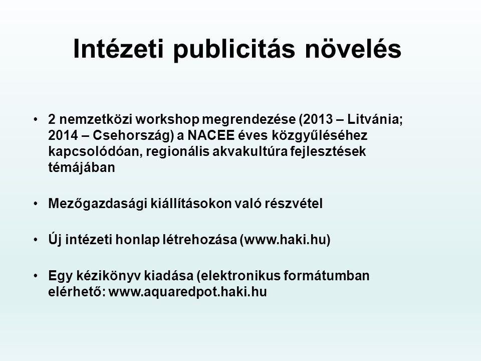 Intézeti publicitás növelés 2 nemzetközi workshop megrendezése (2013 – Litvánia; 2014 – Csehország) a NACEE éves közgyűléséhez kapcsolódóan, regionális akvakultúra fejlesztések témájában Mezőgazdasági kiállításokon való részvétel Új intézeti honlap létrehozása (www.haki.hu) Egy kézikönyv kiadása (elektronikus formátumban elérhető: www.aquaredpot.haki.hu