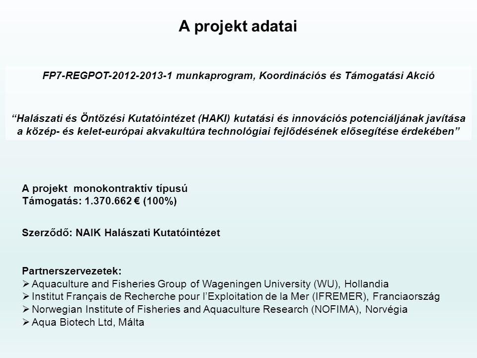FP7-REGPOT-2012-2013-1 munkaprogram, Koordinációs és Támogatási Akció Halászati és Öntözési Kutatóintézet (HAKI) kutatási és innovációs potenciáljának javítása a közép- és kelet-európai akvakultúra technológiai fejlődésének elősegítése érdekében A projekt adatai A projekt monokontraktív típusú Támogatás: 1.370.662 € (100%) Szerződő: NAIK Halászati Kutatóintézet Partnerszervezetek:  Aquaculture and Fisheries Group of Wageningen University (WU), Hollandia  Institut Français de Recherche pour l'Exploitation de la Mer (IFREMER), Franciaország  Norwegian Institute of Fisheries and Aquaculture Research (NOFIMA), Norvégia  Aqua Biotech Ltd, Málta