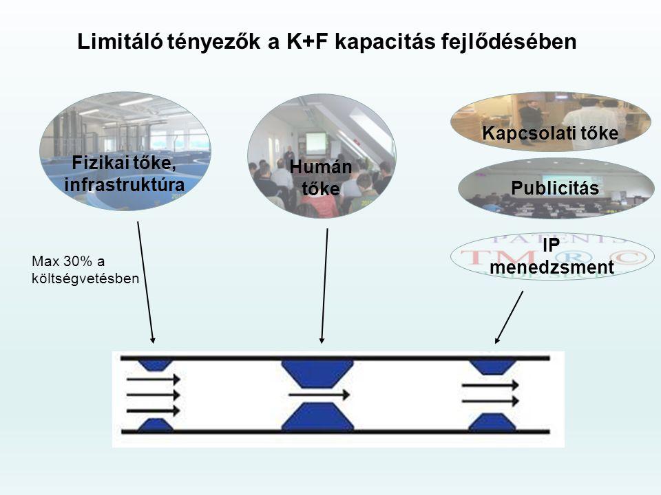 Limitáló tényezők a K+F kapacitás fejlődésében Fizikai tőke, infrastruktúra Max 30% a költségvetésben Humán tőke Kapcsolati tőke Publicitás IP menedzsment