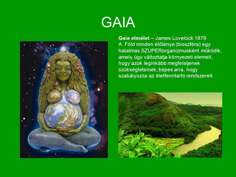 GAIA Gaia elmélet – James Lovelock 1979 A Föld minden élőlénye (bioszféra) egy hatalmas SZUPERorganizmusként működik, amely úgy változtatja környezeti elemeit, hogy azok leginkább megfeleljenek szükségleteinek, képes arra, hogy szabályozza az életfenntartó rendszereit.