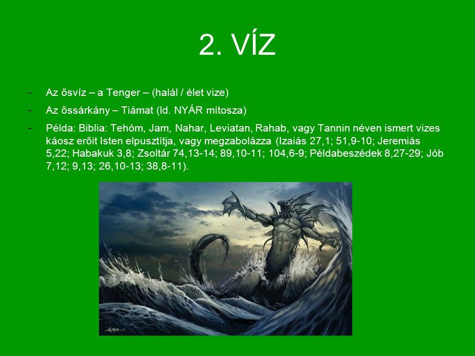 2. VÍZ -Az ősvíz – a Tenger – (halál / élet vize) -Az őssárkány – Tiámat (ld.