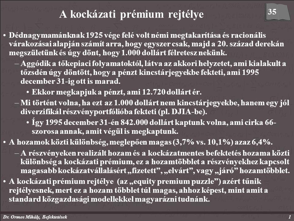 Dr. Ormos Mihály, Befektetések1 A kockázati prémium rejtélye Dédnagymamánknak 1925 vége felé volt némi megtakarítása és racionális várakozásai alapján