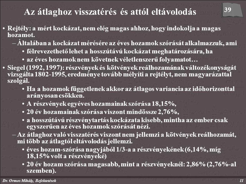 Dr. Ormos Mihály, Befektetések11 Az átlaghoz visszatérés és attól eltávolodás Rejtély: a mért kockázat, nem elég magas ahhoz, hogy indokolja a magas h