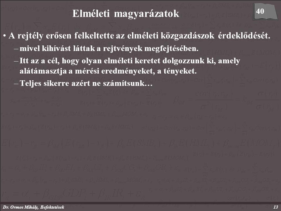 Dr. Ormos Mihály, Befektetések13 Elméleti magyarázatok A rejtély erősen felkeltette az elméleti közgazdászok érdeklődését. –mivel kihívást láttak a re